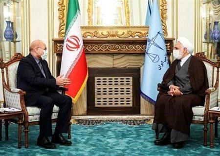 محمد باقر قالیباف رئیس مجلس شورای اسلامی با حجتالاسلام والمسلمین محسنی اژه ای، رئیس قوه قضائیه دیدار کرد